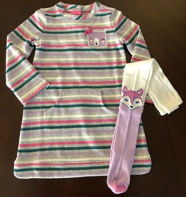 NWT Gymboree Girl Woodland Weekend Sparkle Dress & Fox Tights Outfit  4T 5T