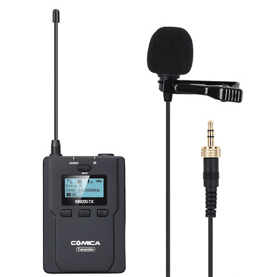 CoMica UHF 96-Channel Metal Wireless Lavalier Microphone System For DSLR Cameras