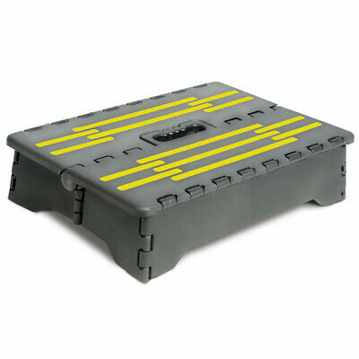 "Portable Folding Riser Step with Yellow Traction Tape - 3"" Rise"