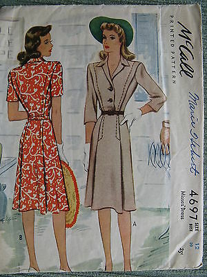 CLASSY DRESS RARE VINTAGE 1940's B30 Fabric Sewing Pattern McCall 4697 Misses