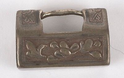 Antique detailed Small Chinese Lock pendant, charm, ornate silver Calligraphy