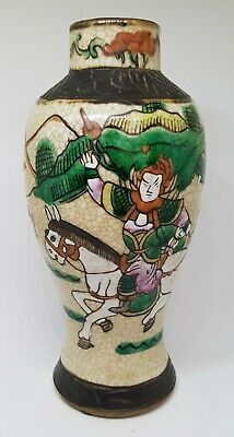 GOOD ANTIQUE CHINESE PORCELAIN 19th CENTURY FAMILLE VERTE CRACKLE VASE #2