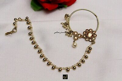 6b96180e075 GOLD NOSE RING Chain Nath Bridal Nose Ring/Indian Nose Hoop Wedding Jewelry