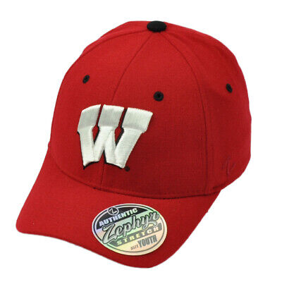 46b86beb59967 NCAA Zephyr Wisconsin Badgers Flex Fit Small Red Hat Cap Stretch Curved Bill