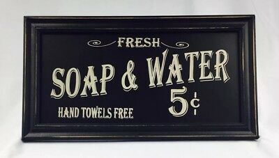 Vintage Style Wooden Sign FRESH SOAP & WATER BATH Advertising Wall Art Americana