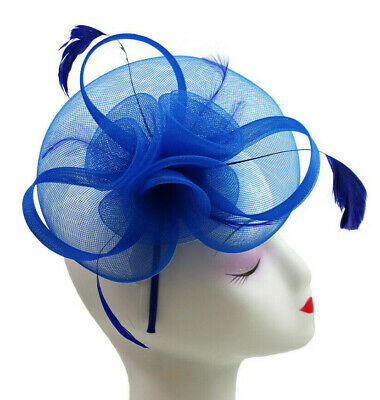 Elegant Headband and Clip Sky Blue Fascinator Wedding Races Royal Ascot Occasion