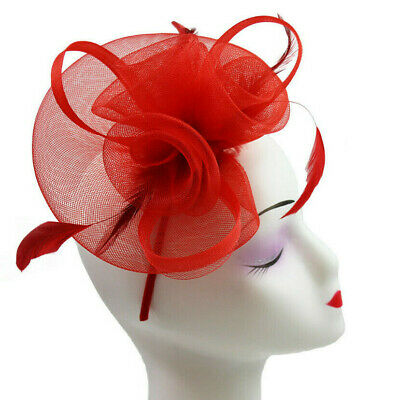 Elegant Headband and Clip Red Fascinator Wedding Races Royal Ascot Occasion