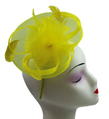 Elegant Headband and Clip Yellow Fascinator Wedding Races Royal Ascot Occasion