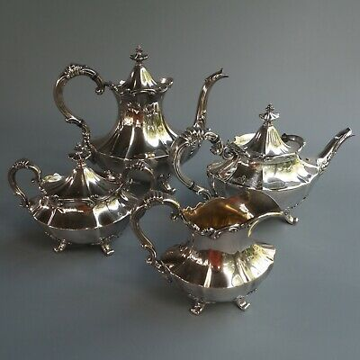 Reed Barton Victorian Silver Plate Coffee Tea Pot Sugar Bowl Lid Creamer 4pc Set
