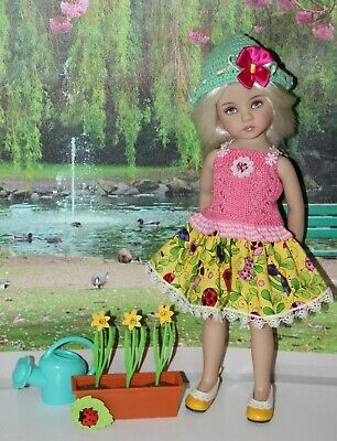 "Outfit FOR Dianna Effner 13"" Little Darling Dolls=Garden Skirt Top Hat = NEW"
