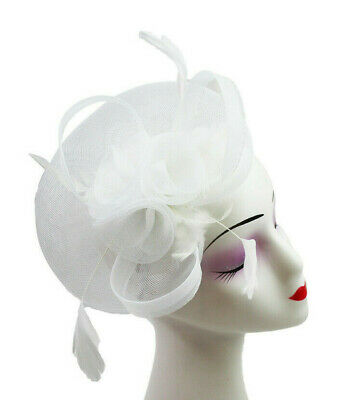 Elegant Headband and Clip White Fascinator Wedding Races Royal Ascot Occasion