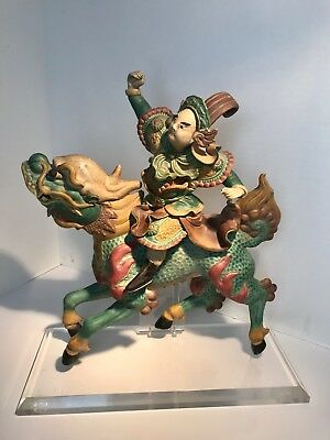 Ming Style Chinese Roof Tile Warrior Riding Longma dragon/horse