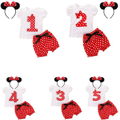 Baby Kid Girls Birthday Mickey Mouse Clothes Outfits with Top + Pants + Headband