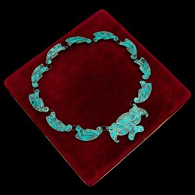 Antique Vintage Deco Sterling 950 Silver Mexican TAXCO Turquoise Inlay Necklace