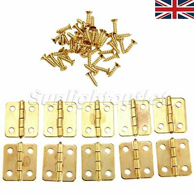 10/50x Small Decorative Jewelry Dollhouse Cigar Wood Box Hinges Brushed Brass UK