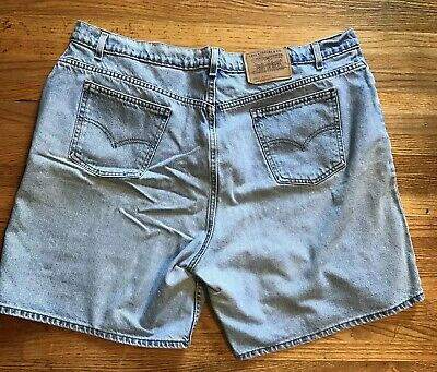 Vntg Levis 950 Denim Jean Shorts 24W Plus Mom High Waist Relaxed Light USA~ Rare