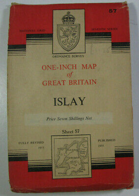 1955 Old Vintage OS Ordnance Survey One-inch Seventh Series CLOTH Map 57 Islay