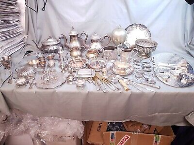 A Job Lot Of 45 Vintage Silver Plated Items Plus Cutlery.7 Kgs In Weight.