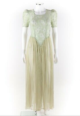 Vtg COUTURE c.1930's Soft Green Semi Sheer Floral Lace Chiffon Evening Dress