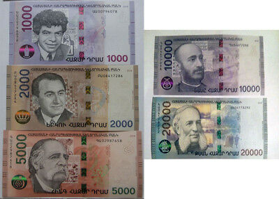 Armenia 2018 NEW Banknote 1000 2000 5000 10000 20000 Dram UNC Hybrid Technology