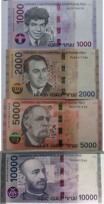 Armenia 2018 NEW Banknote - 1000 2000 5000 10000 Dram UNC Hybrid Technology