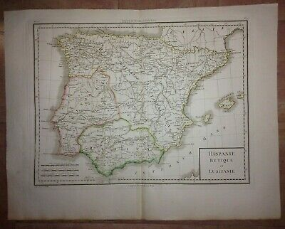 SPAIN PORTUGAL by TARDIEU XVIIIe CENTURY LARGE ANTIQUE ENGRAVED MAP