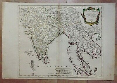 India Southeast Asia 1779 Vaugondy/santini Large Antique Map In Colors 18Th Cent