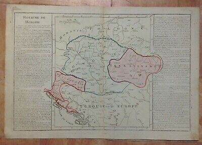 HUNGARY BALKANS XVIIIe CENTURY by CLOUET LARGE UNUSUAL COPPER ENGRAVED MAP