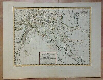 SYRIA ARMENIA IRAK IRAN 1802 by MENTELLE LARGE ANTIQUE ENGRAVED MAP IN COLORS