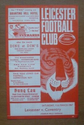Leicester v Coventry, 11/03/1967 - Match Programme.