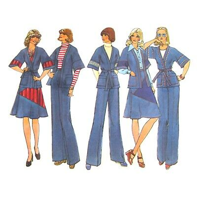 Vtg 70s Simplicity 7271 Misses Flared Skirt Wrap Jacket Pants Contrast 12/34