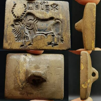Wonderful Old Bull intaglio & Signs Letters Stone Seal Stamp  # 10O