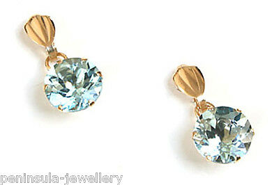 9ct Gold Blue Topaz Round Drop Earrings Made in UK Gift Boxed Birthday Gift