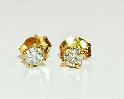 1/4 Carat Diamond Stud Earrings (I1 Clarity, G Color) 14kt Yellow Gold