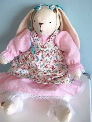 Handmade Tilda Inspired Hare Toy Rag Doll with Removable Clothes Easter Gift