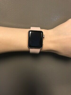 sale retailer 3a801 d0944 APPLE WATCH SERIES 3 38mm Gold Aluminium Case with Pink Sand Sport Band  (GPS...