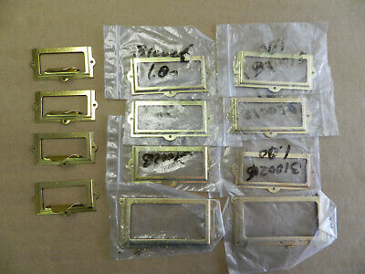 Polished Brass File Cabinet Box Card Holders  Pulls Assortment 12 Items Nos