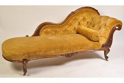 Antique Victorian Mahogany Chaise Longue/ Day Bed ~ Gold Chenille Fabric c.1880