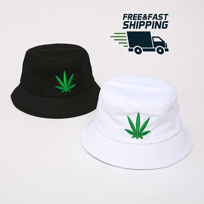 8f256c14a9e48e 2019 Weed Bucket Cotton Hat Hemp Leaf Summer Hat Marijuana Leaf Cannabis Cap