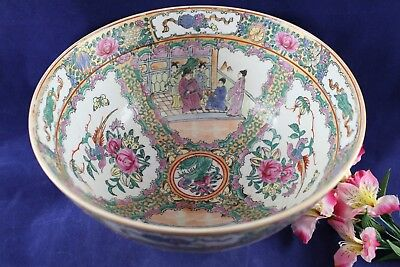 """Antique Chinese Rose Medallion Large Serving Bowl 19th Century 11 3/4"""" wide"""