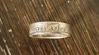 WW2 WWII German Deutsche Reich silver 1939 coin mens finger ring size 9.5