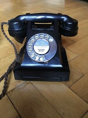 VINTAGE ORIGINAL RESTORED BAKELITE 1950's 314F ART DECO GPO TELEPHONE 100% WORKS