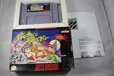 Pocky & Rocky (Super Nintendo SNES) with Box GOOD