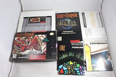 Secret Of Evermore (Super Nintendo SNES) Complete in Box Reg Card Poster GREAT