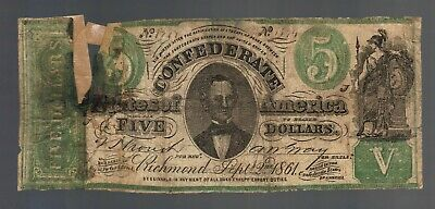 $5 1861 FIVE DOLLARS CSA CONFEDERATE STATES Counterfeit Note Currency Bill