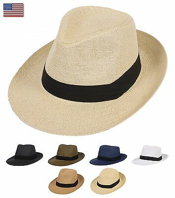 c57cf7a9 Summer Cool Outback Panama Wide brim Fedora Straw Indiana Jones Style Hat
