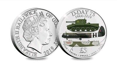 2019 D-DAY 75th ANNIVERSARY, 1944 - 2019,  Five Pound £5 Coloured Coin