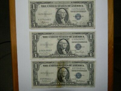 1935 C, D, & F Series Silver Certificate One Dollar Bills