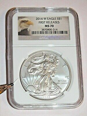 "Rare ""burnished"" 2014 W Ngc First Releases Ms70 S$1 American Eagle Silver Coin"