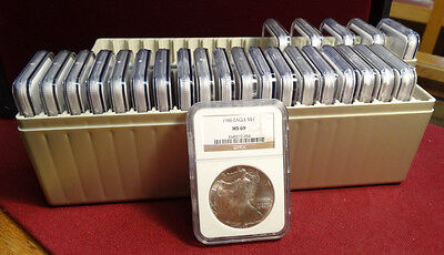 25 Coin Silver Eagle Set 1986 to 2010, NGC MS-69, Bright & Clean